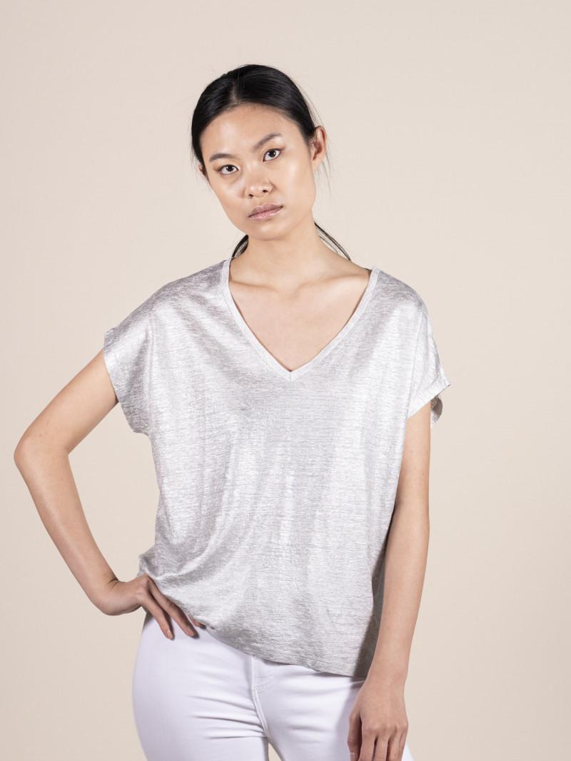 T-shirt argento over donna con scollo a V e manica corta in lino ed elastan