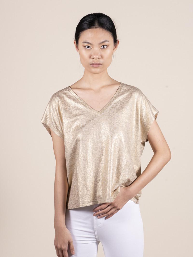 T-shirt oro over donna con scollo a V e manica corta in lino ed elastan
