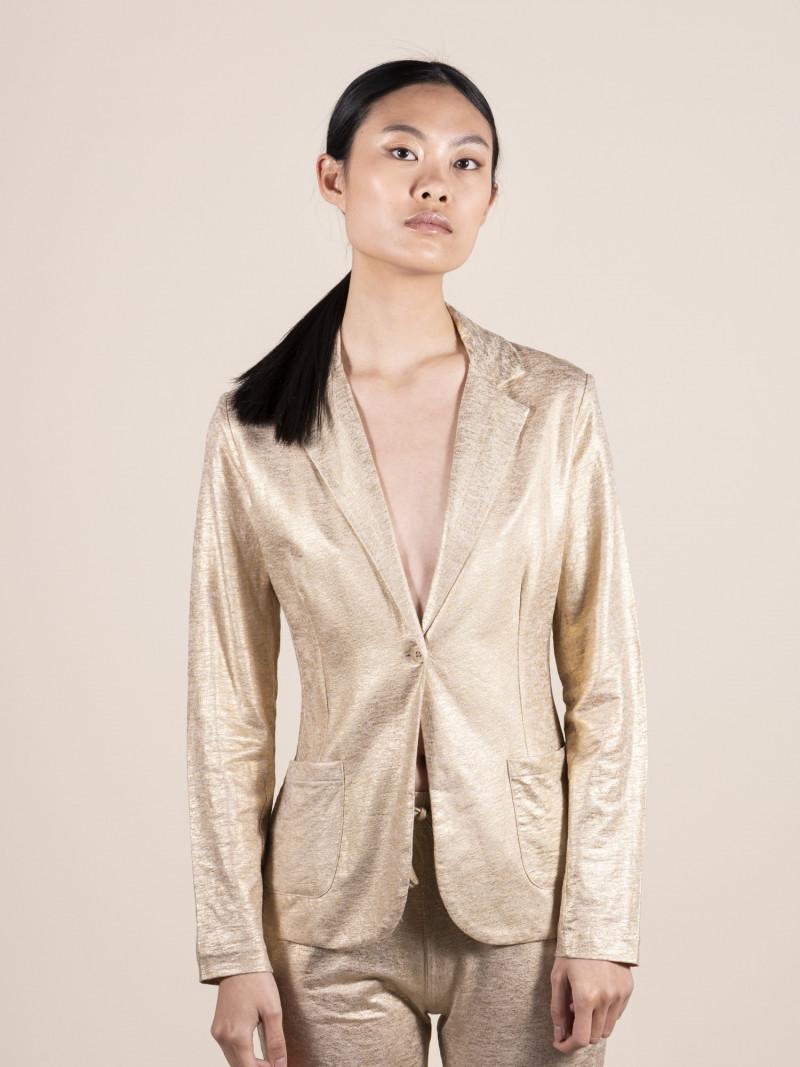 Giacca completo da donna in lino oro con maniche lunghe e bottone