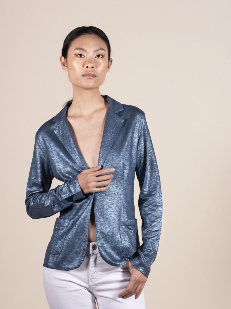 Giacca completo da donna in lino blu metallico con maniche lunghe e bottone