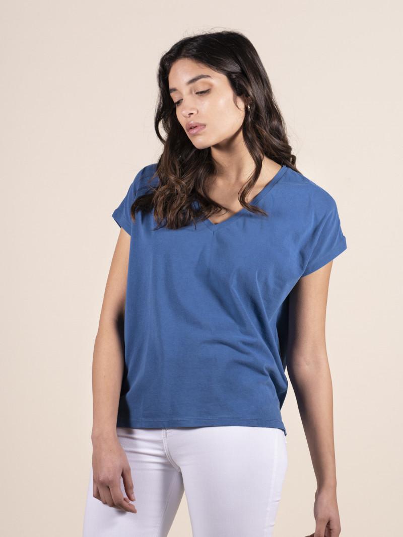 T-shirt blu over donna con scollo a V e manica corta in cotone ed elastan