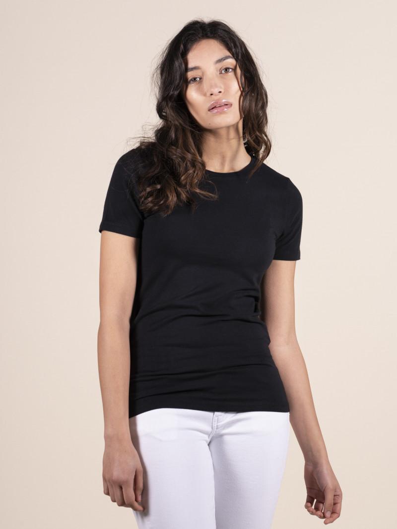 T-shirt nera basica donna girocollo con manica corta in cotone ed elastan