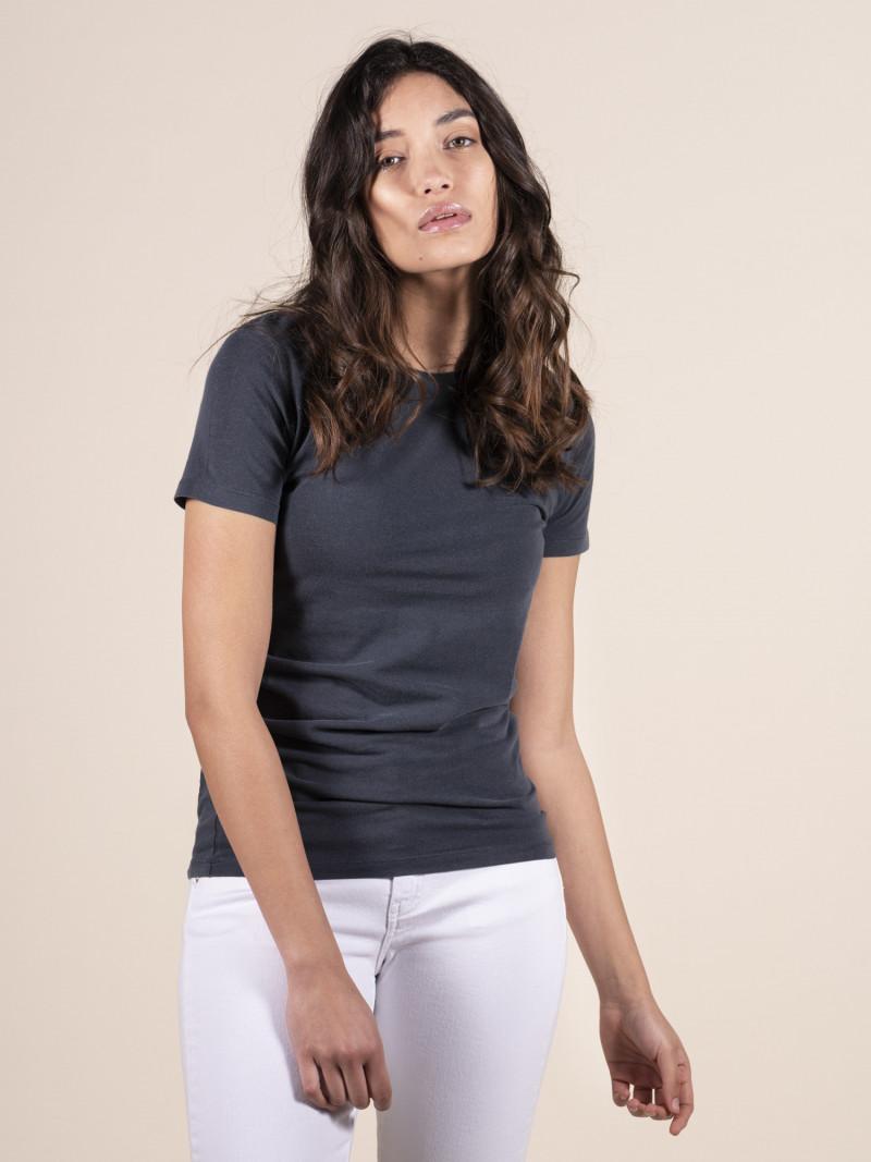 T-shirt blu basica donna girocollo con manica corta in cotone ed elastan