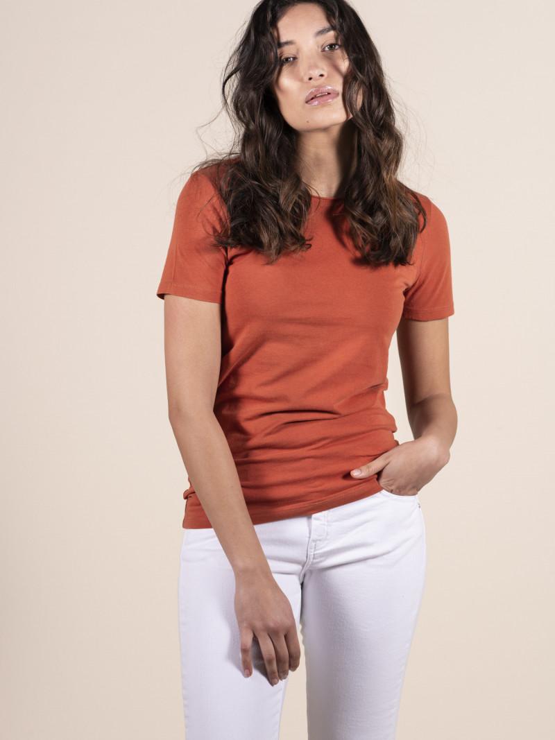 T-shirt arancione basica donna girocollo con manica corta in cotone ed elastan