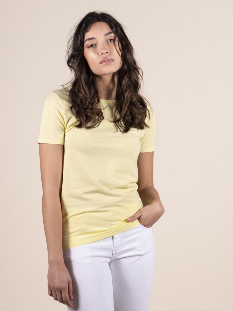 T-shirt gialla basica donna girocollo con manica corta in cotone ed elastan