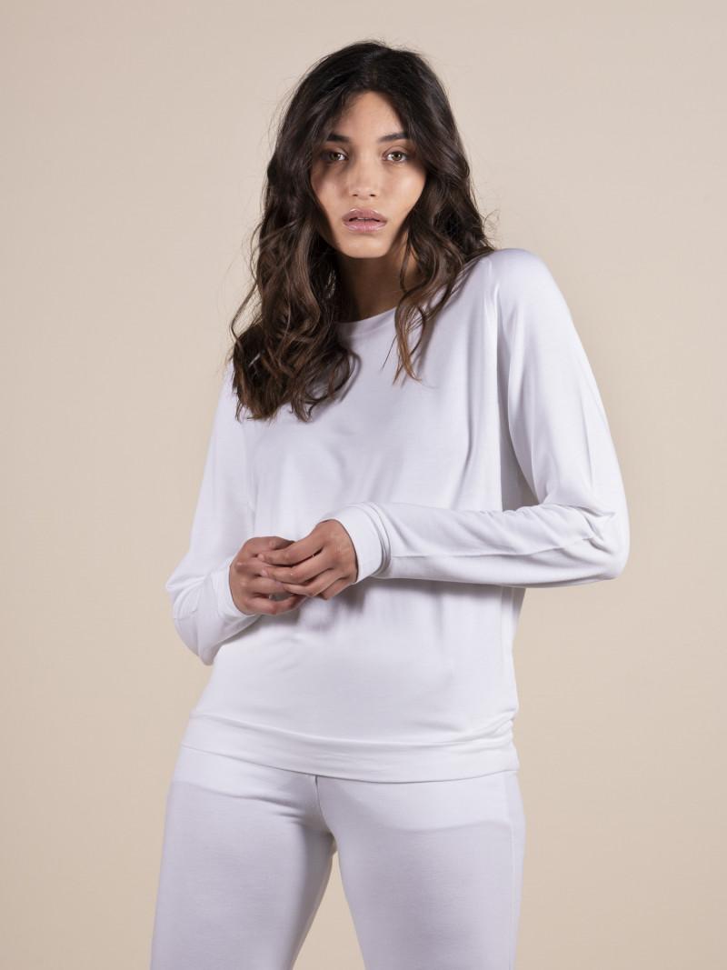 Felpa girocollo donna bianca con maniche lunghe a raglan in viscosa ed elastan