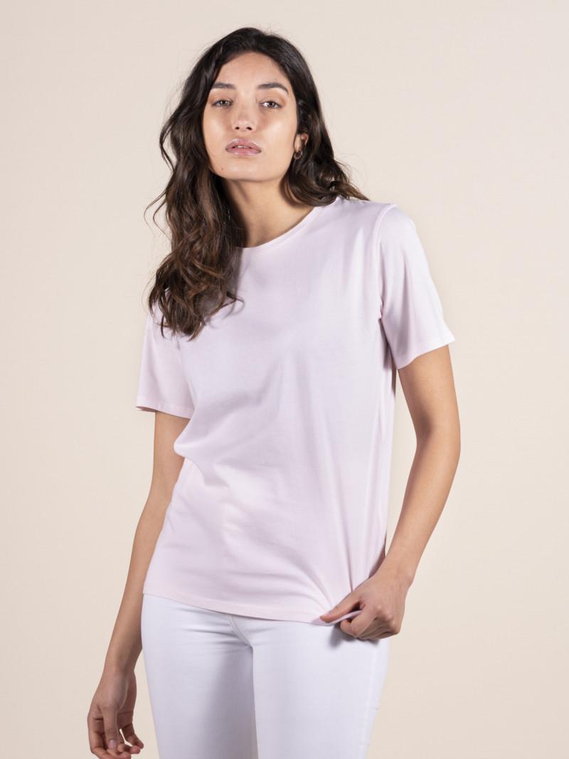 T-shirt rosa basica donna girocollo con manica corta in puro cotone e vestibilità slim
