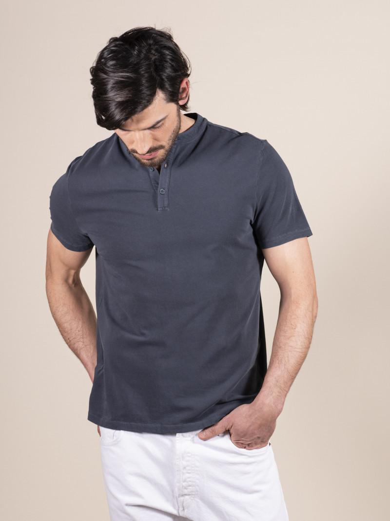T-shirt blu slim uomo serafino con manica corta in cotone