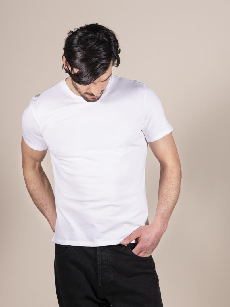 T-shirt bianca basica uomo girocollo con manica corta in 100% cotone