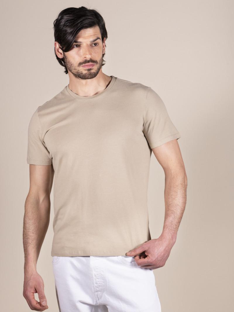 T-shirt beige basica uomo girocollo con manica corta in 100% cotone