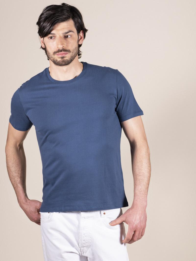 T-shirt blu chiaro basica uomo girocollo con manica corta in 100% cotone