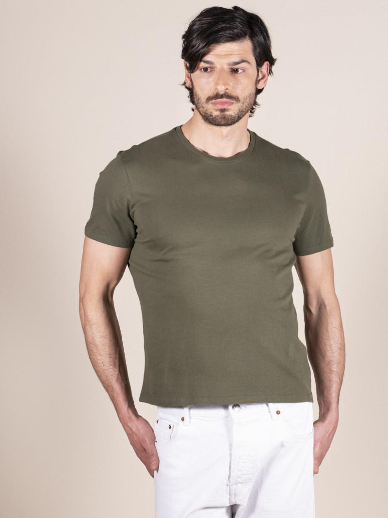 T-shirt verde basica uomo girocollo con manica corta in 100% cotone