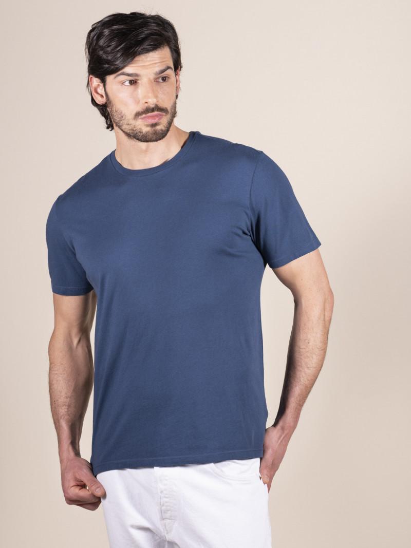 T-shirt slim blu basica uomo girocollo con manica corta in 100% cotone