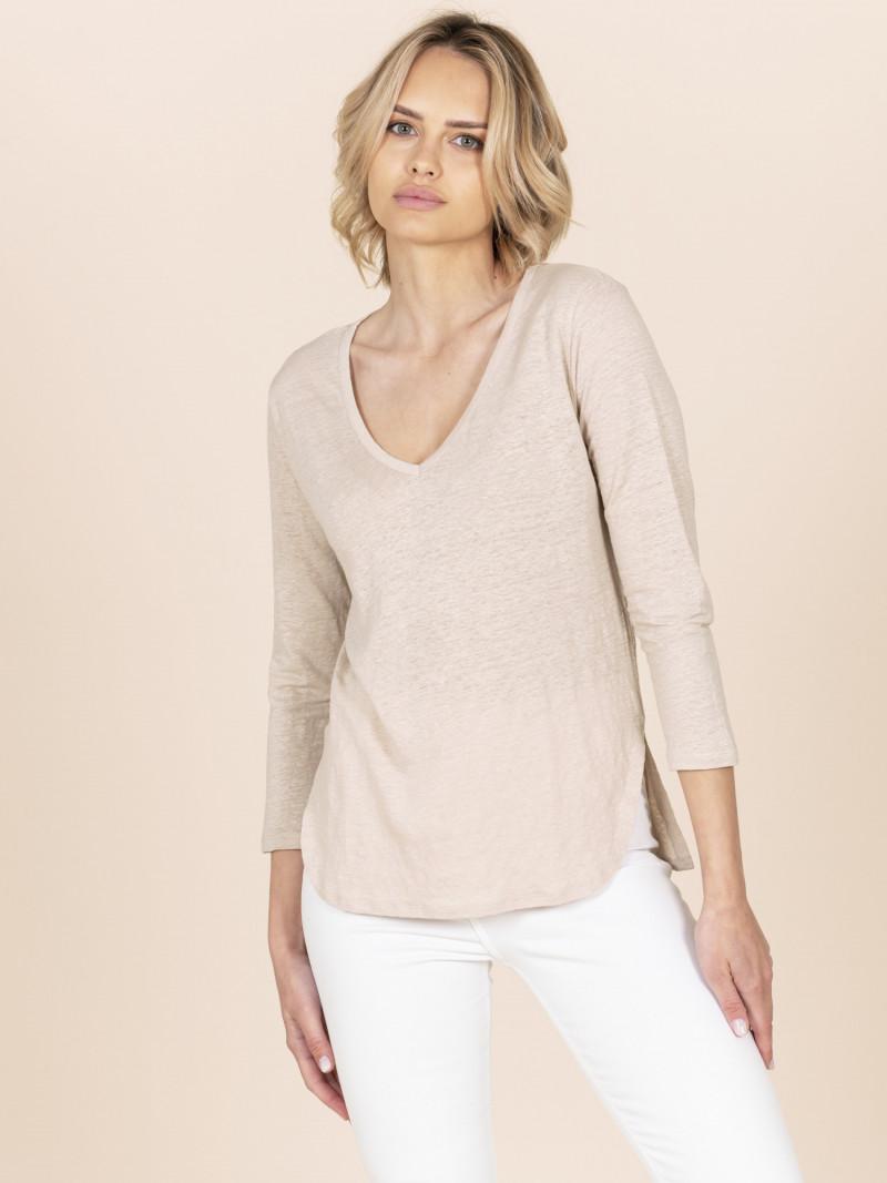 T-shirt sabbia donna con scollo a V e manica a tre quarti vestibilità slim in lino ed elastan