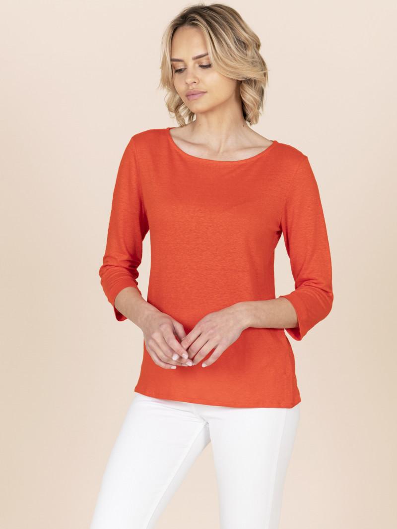 T-shirt arancione da donna con scollo a barchetta e maniche a tre quarti in lino