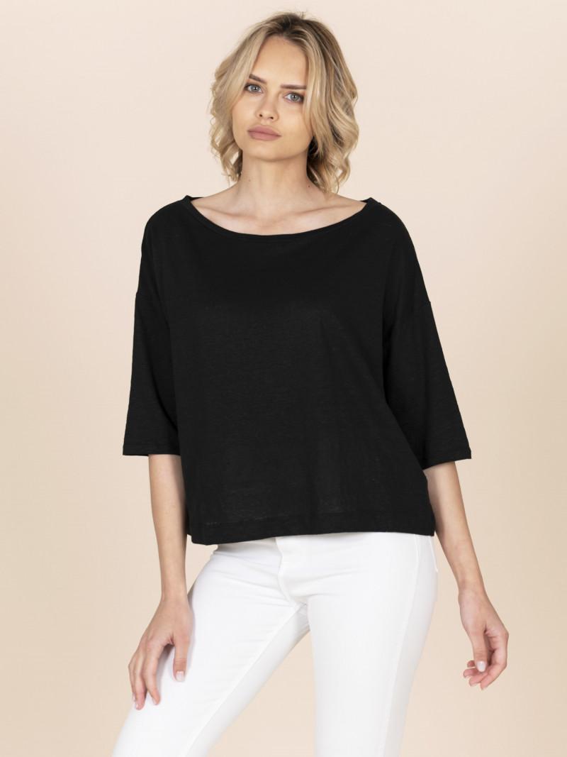 T-shirt cropped nera donna con scollo a barchetta e maniche a tre quarti