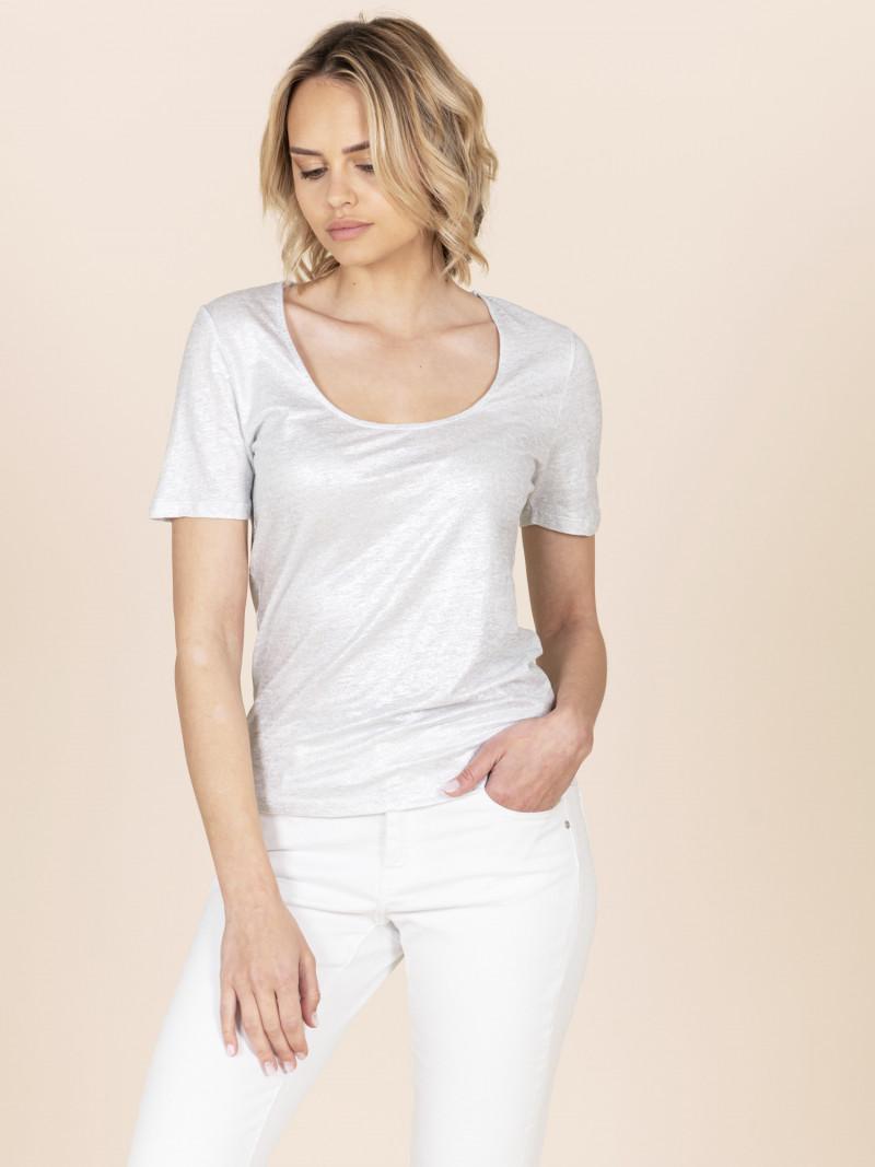 T-shirt argento donna scollo a U in lino e vestibilità slim