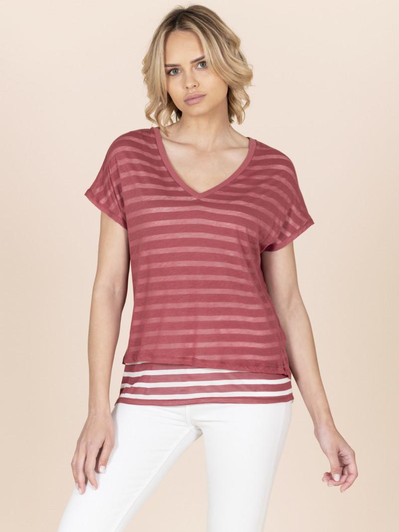 T-shirt scollo a V doppio strato a righe rosa scuro